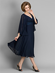 cheap -A-Line V Neck Tea Length Chiffon Mother of the Bride Dress with Lace by LAN TING BRIDE®