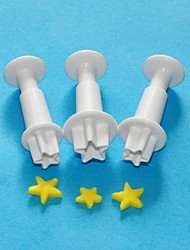 FOUR-C Star Plastic Plunger Cutters, Sugarcraft Plunger Cutters,Fondant Cake Decoration Tools Set