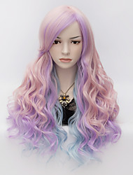 Fashion Wig Purple Long Multi Color  wavy Hair With Side Bang Synthetic Party Costume Wigs For Halloween