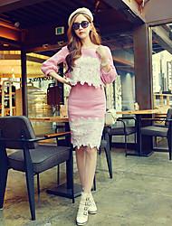 Set Da donna Casual Semplice / Moda città Autunno,Collage Rotonda Cotone / Elastene Blu / Rosa Maniche a ¾ Medio spessore