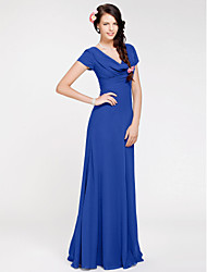 Sheath / Column Cowl Neck Floor Length Georgette Bridesmaid Dress with Side Draping by LAN TING BRIDE®