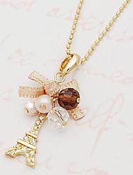 billige -Dame Kors Tårn Butterfly Form Klassisk Romantik Boheme Etnisk Halskædevedhæng Perlehalskæde Perle Imiteret Perle Rhinsten Legering