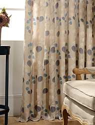 cheap -Blackout Curtains Drapes Bedroom Leaf Linen / Cotton Blend Print & Jacquard