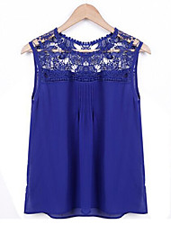 Women's Lace stitching hollow-out chiffon vest