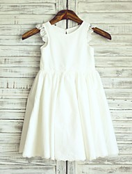 cheap -Princess Knee Length Flower Girl Dress - Cotton Lace Sleeveless Scoop Neck with Pleats by LAN TING BRIDE®