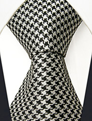 cheap -SXL9  Classic Dress Men's Neckties Black White Houndstooth 100% Silk Business Handmade