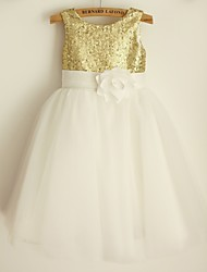 cheap -Princess Knee Length Flower Girl Dress - Satin Tulle Sequined Sleeveless Scoop Neck with Bow(s) Sash / Ribbon Sequins by LAN TING BRIDE®