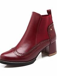 Feminino Sapatos Courino Primavera Outono Inverno Coturnos Salto Grosso Botas Curtas / Ankle Elástico Para Casual Preto Marron Vinho