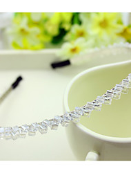 South Korea Imported Hairpin Rhinestone Beaded Head Hoop Decorations Double Row Crystal Hair Band Transparent White
