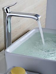 Moderne Centersat Keramik Ventil Et Hul Enkelt håndtag Et Hul Krom , Håndvasken vandhane