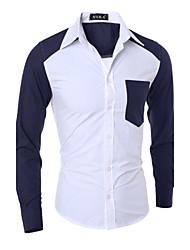 billige -Herre-Ensfarvet Farveblok Kunstnerisk Stil Klassisk & Tidløs Skjorte