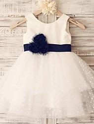 abordables -Princesse Mi-long Robe de Demoiselle d'Honneur Fille - Coton Tulle Sans Manches avec Fleur(s) Ceinture / Ruban par LAN TING BRIDE®