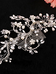 Vintage Charming Design Wedding Bride Handmake Headband Necklace Cown Pearls Hair Accessior Flower Silver