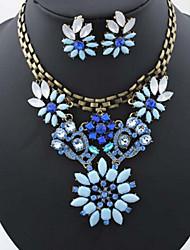 preiswerte -Damen Strass / Diamantimitate / Rose Gold überzogen Blumig Blume Schmuck-Set Ohrringe / Halsketten - Blumig / Luxus / Blumen Stil Blau