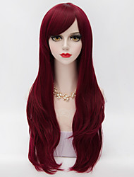 70cm Long Layered Curly Hair With Side Bang Dark Red Heat-resistant Synthetic Harajuku Lolita Women Wig