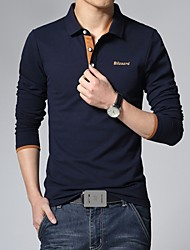 cheap -Men's Fashion Casual Daily Letter Logo Long Sleeve Polo Shirt