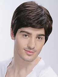 cheap -Synthetic Wig Straight With Bangs Side Part Brown Men's Women's Capless Natural Wigs Short Synthetic Hair