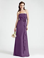 Sheath / Column Strapless Floor Length Chiffon Bridesmaid Dress with Flower by LAN TING BRIDE®