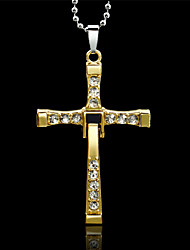 Men's Pendant Necklaces Rhinestone Alloy Cross Gold Silver Jewelry Wedding Party Daily Casual Sports 1pc