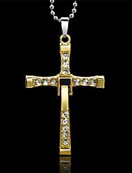 Недорогие -Муж. Ожерелья с подвесками - Стразы Крест, Дракон Золотой, Серебряный Ожерелье Бижутерия Назначение Свадьба, Для вечеринок, Повседневные