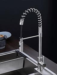 economico -Moderno Estraibile Montaggio su piattaforma Doccetta estraibile Uno Una manopola Un foro Acciaio INOX , Rubinetto da cucina
