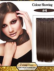billiga -5 clips långt rakt brunt syntetiskt hår klipp i hårförlängningar för damer