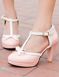 Mulheres Sapatos Courino Primavera Verão Salto Cone Plataforma Laço para Casual Escritório e Carreira Social Branco Preto Vermelho Rosa