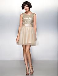 Linha A Curto / Mini Tule Paetês Coquetel Baile de Fim de Ano Vestido com Lantejoulas de TS Couture®