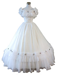 One-Piece/Dress Gothic Lolita Steampunk® Cosplay Lolita Dress White Solid Sleeveless Long Length Dress For Lace Organza FRP Terylene