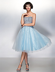 cheap -A-Line Sweetheart Knee Length Organza Tulle Cocktail Party Prom Dress with Sequins by TS Couture®