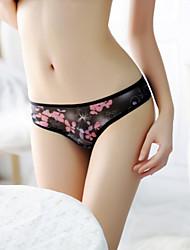povoljno -Žene Gaćice s nevidljivim rubom Ultra seksi gaćice Tange bez trakica Tange - Cvjetni print, Mrežica Print Medium Waist