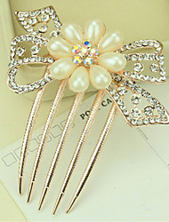 cheap -South Korea High-Grade Ornaments in Combs Hair Clasp Diamond Pearl Twist  The  Flower Bow
