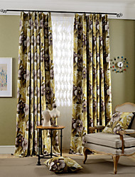cheap -Rod Pocket Grommet Top Tab Top Double Pleat Pencil Pleat Two Panels Curtain Modern European Mediterranean Neoclassical Country, Print &