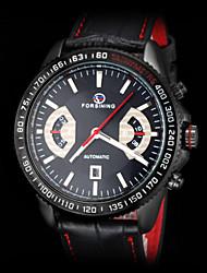 cheap -FORSINING Men's Wrist Watch Calendar / date / day Leather Band Charm Black / Automatic self-winding
