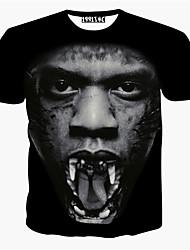 economico -MEN - T-shirt - Informale / Stampa / Feste Rotondo - Pantaloncini Misto cotone