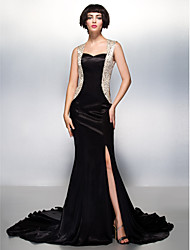 cheap -Mermaid / Trumpet Sweetheart Court Train Charmeuse Formal Evening Dress with Beading by TS Couture®