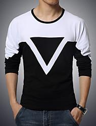 Tee-shirt Homme,Couleur Pleine Sports Décontracté / Quotidien Grandes Tailles Actif Manches Longues Col Arrondi Coton Spandex