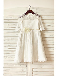 cheap -A-Line Knee Length Flower Girl Dress - Lace Half Sleeve Jewel Neck with Sash / Ribbon / Flower by LAN TING BRIDE®