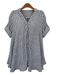 cheap -Women's Classic & Timeless Chic & Modern Batwing Sleeve Cotton Loose Shirt - Check Mixed Color V Neck