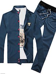 billige -Langærmet Ensfarvet Mænds Activewear Sets Fritid Bomuld