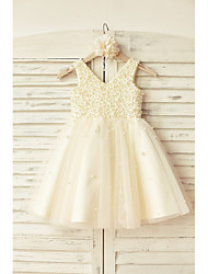 cheap -A-Line Knee Length Flower Girl Dress - Satin Tulle Sleeveless V Neck with Beading by LAN TING Express