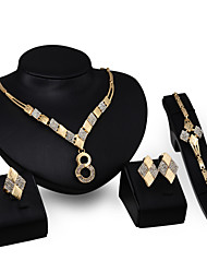 cheap -Jewelry Set - 18K Gold Plated, Cubic Zirconia Statement, Vintage, Party Include Gold For Party Special Occasion Anniversary / Earrings / Necklace