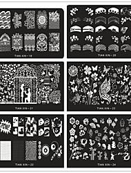 24 видов смешанного стиля шаблона печатной формы маникюра поставок Оптовая DIY ногтей синий прямоугольный мембранных