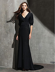 Sheath / Column V-neck Sweep / Brush Train Knit Formal Evening Black Tie Gala Dress with Pleats by TS Couture®