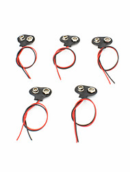 T-Style Plastic + Stainless Steel 9V Battery Buckles w/ Leads - Black (5 PCS)