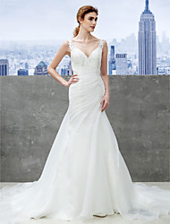 cheap -Mermaid / Trumpet Strap Chapel Train Organza Custom Wedding Dresses with Appliques by LAN TING BRIDE®