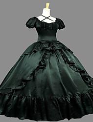 abordables -Gothique Steampunk® Victorien Satin Femme Robes Cosplay Vert foncé Poète Manches Courtes Long