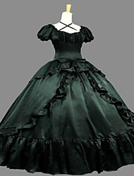 cheap -One-Piece Gothic Lolita Steampunk®/Victorian Cosplay Lolita Dress Blue Vintage Short Sleeve Dress For Women Civil War Southern Belle Prom Ball Gown