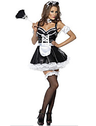 Sexy French Maid Women's Cosplay  Party Costume Maid Costumes Festival/Holiday Halloween Costumes Color Block Patchwork Dress Cravat Gloves Headwear