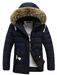 cheap -Men's Regular Parka Coat , Cotton Pure Long Sleeve